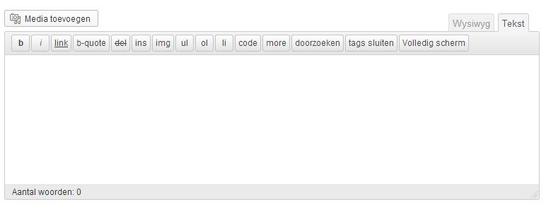 WYSIWYG en Tekst venster WordPress