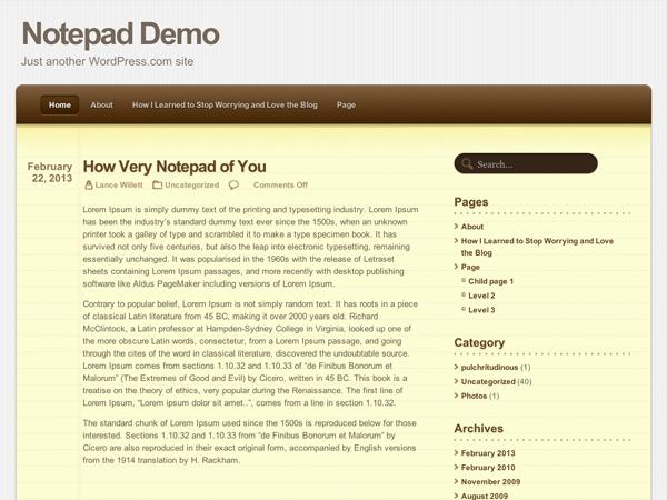 Download Notepad | WordPress.com themes